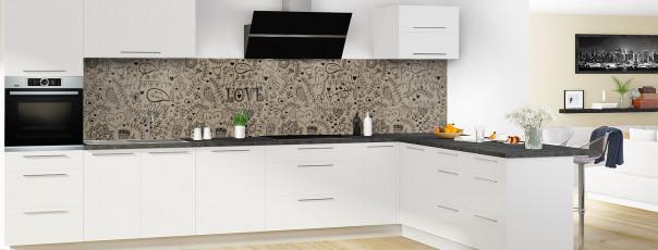Crédence de cuisine Love illustration couleur marron glacé panoramique en perspective