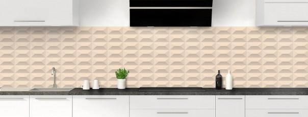 Crédence de cuisine Briques en relief couleur sable panoramique