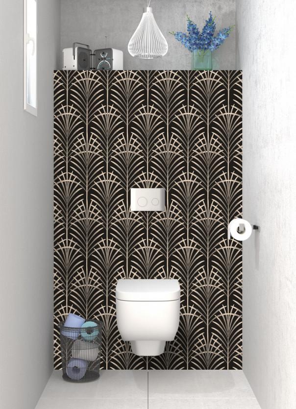 Panneau WC Feuilles de paume couleur sable