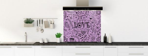 Crédence de cuisine Love illustration couleur parme fond de hotte