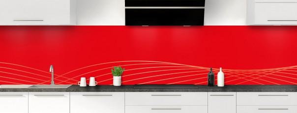 Crédence de cuisine Courbes couleur rouge vif panoramique