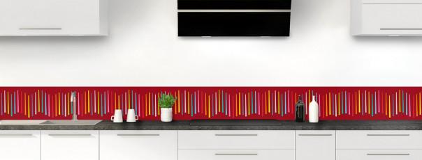 Crédence de cuisine Barres colorées couleur rouge carmin dosseret