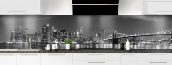 Crédence de cuisine New York Noir & Blanc panoramique