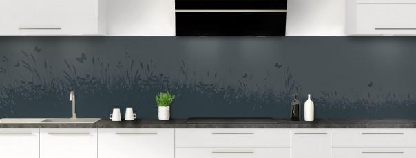 Crédence de cuisine Prairie et papillons couleur gris carbone panoramique