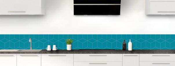Crédence de cuisine Cubes en relief couleur bleu canard dosseret