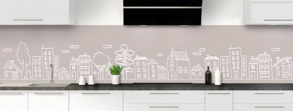 Crédence de cuisine Dessin de ville couleur argile panoramique
