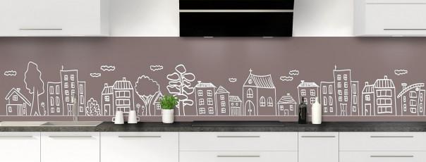 Crédence de cuisine Dessin de ville couleur taupe panoramique