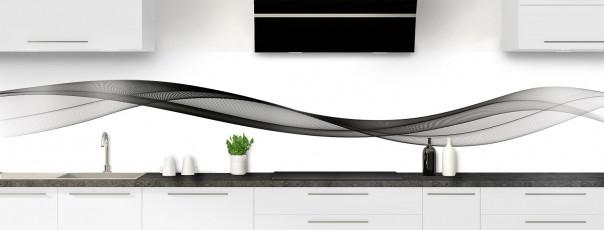 Crédence de cuisine Vague graphique couleur noir panoramique