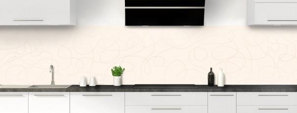 Crédence de cuisine Gribouillis couleur magnolia panoramique