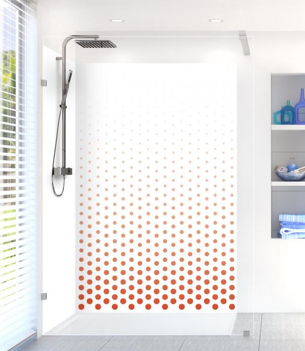 Panneau de douche Pluie de points couleur rouge brique