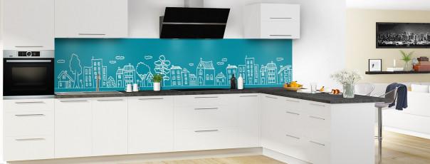 Crédence de cuisine Dessin de ville couleur bleu canard panoramique en perspective