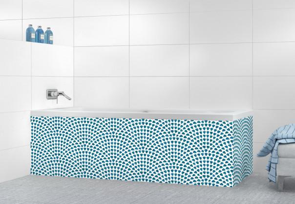 Panneau tablier de bain Mosaïque petits cœurs couleur bleu baltic