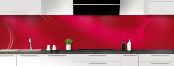 Crédence de cuisine Volute couleur rouge carmin panoramique motif inversé