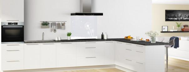 Crédence de cuisine Pissenlit au vent couleur gris clair fond de hotte motif inversé en perspective