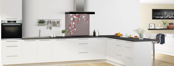 Crédence de cuisine Arbre fleuri couleur taupe fond de hotte motif inversé en perspective