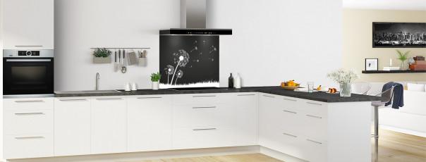 Crédence de cuisine Pissenlit au vent couleur noir fond de hotte en perspective