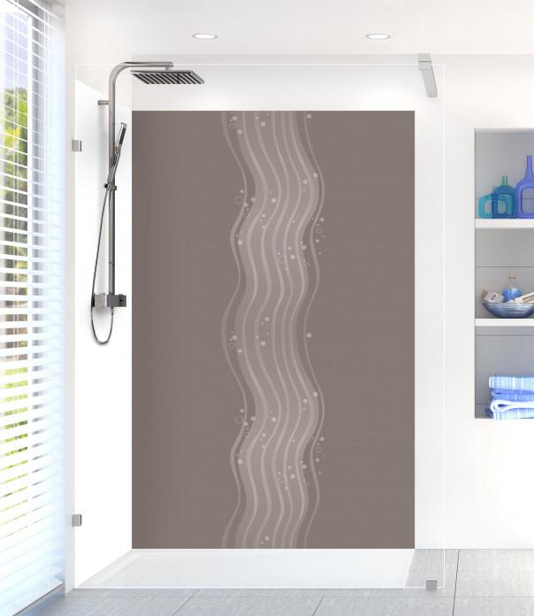 Panneau de douche Vagues design couleur taupe
