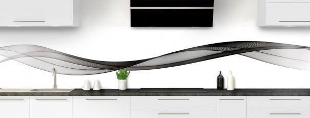 Crédence de cuisine Vague graphique couleur noir panoramique motif inversé