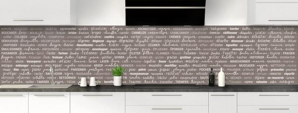 Crédence de cuisine Etapes de recette couleur taupe panoramique