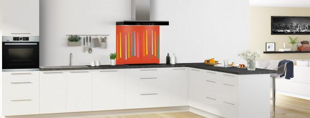 Crédence de cuisine Barres colorées couleur rouge brique fond de hotte en perspective