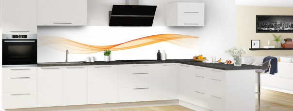 Crédence de cuisine Vague graphique couleur abricot panoramique motif inversé en perspective