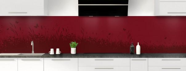 Crédence de cuisine Prairie et papillons couleur rouge pourpre panoramique