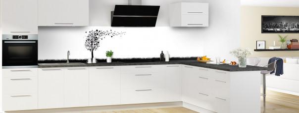 Crédence de cuisine Arbre d'amour couleur noir panoramique en perspective