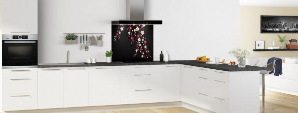 Crédence de cuisine Arbre fleuri couleur noir fond de hotte en perspective