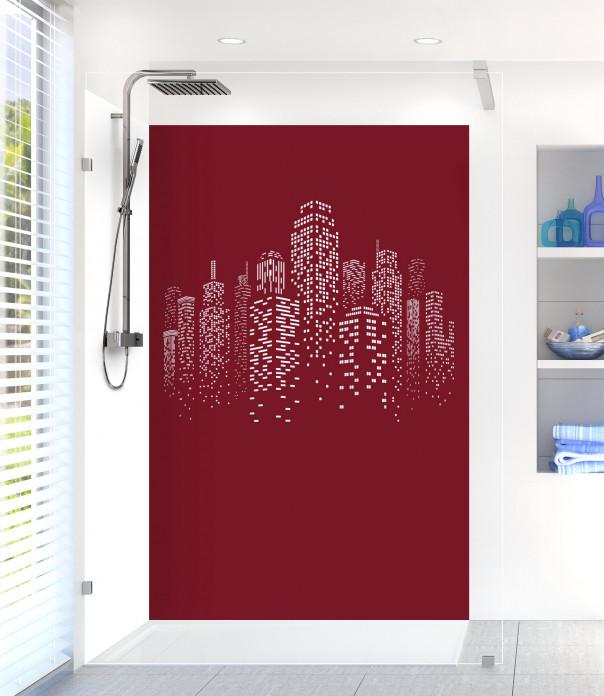 Panneau de douche Gratte-ciels couleur rouge pourpre motif inversé
