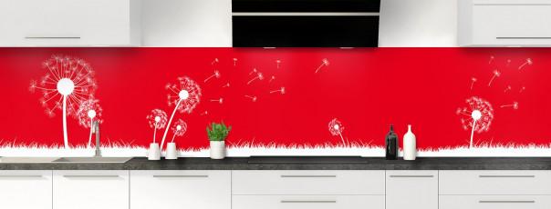 Crédence de cuisine Pissenlit au vent couleur rouge vif panoramique