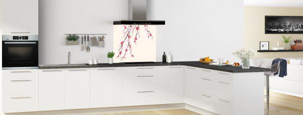 Crédence de cuisine Arbre fleuri couleur magnolia fond de hotte motif inversé en perspective
