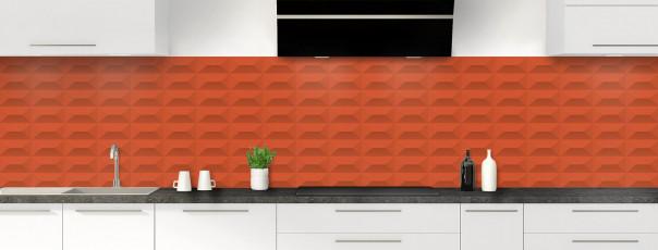 Crédence de cuisine Briques en relief couleur rouge brique panoramique