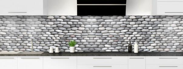 Crédence de cuisine Mur de galets gris panoramique