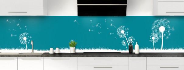 Crédence de cuisine Pissenlit au vent couleur bleu canard panoramique motif inversé