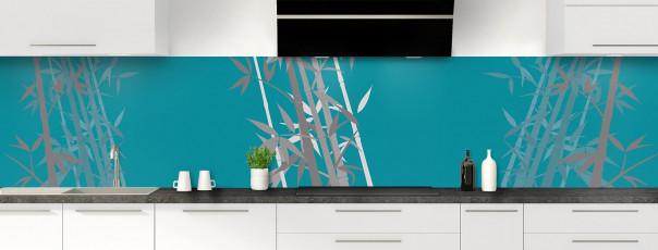 Crédence de cuisine Bambou zen couleur bleu canard panoramique motif inversé