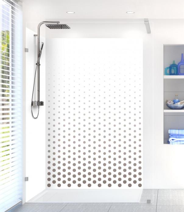 Panneau de douche Pluie de points couleur taupe