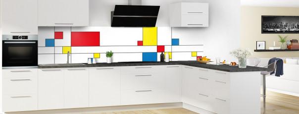 Crédence de cuisine Rectangles Mondrian panoramique en perspective