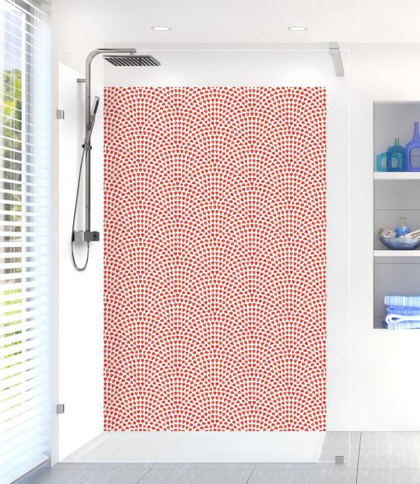 Panneau de douche Mosaïque petits cœurs couleur rouge vif