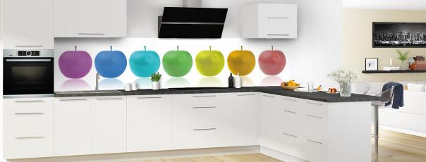 Crédence de cuisine Pommes multicouleurs panoramique motif inversé en perspective