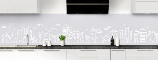 Crédence de cuisine Dessin de ville couleur gris clair panoramique