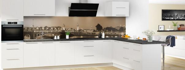 Crédence de cuisine Paris Pont Alexandre III sépia panoramique motif inversé en perspective