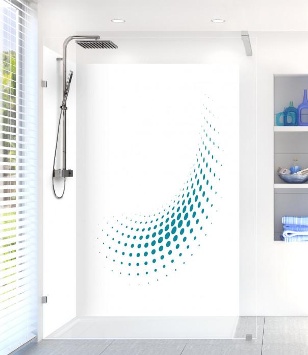 Panneau de douche Nuage de points couleur bleu canard motif inversé