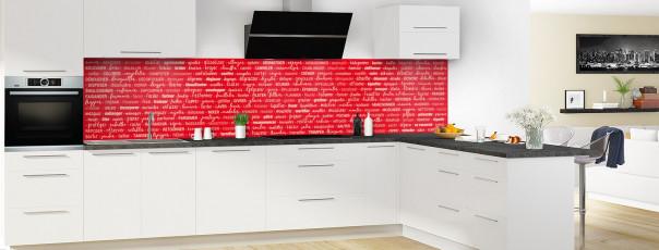 Crédence de cuisine Etapes de recette couleur rouge vif panoramique en perspective