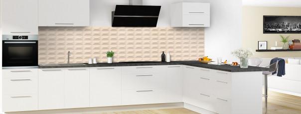 Crédence de cuisine Briques en relief couleur sable panoramique en perspective