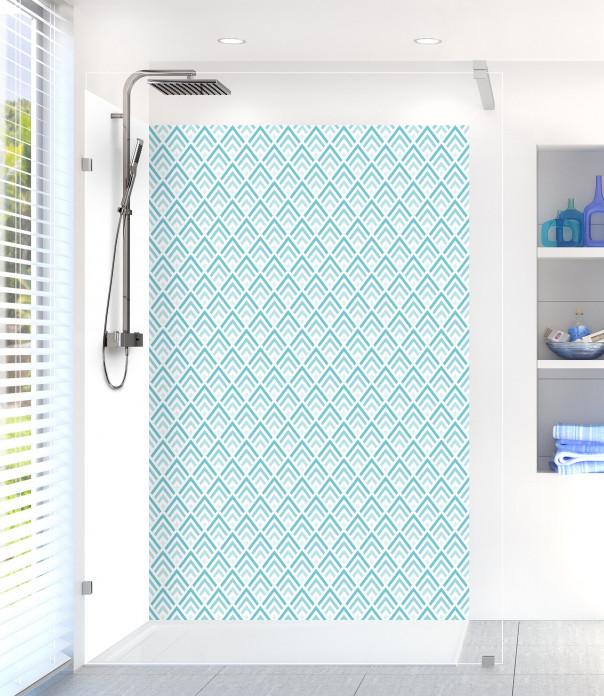 Panneau de douche Ecailles  couleur bleu lagon
