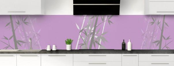 Crédence de cuisine Bambou zen couleur parme panoramique