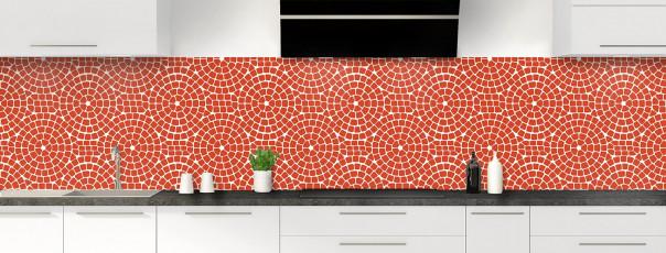 Crédence de cuisine Mosaïque cercles couleur rouge brique panoramique