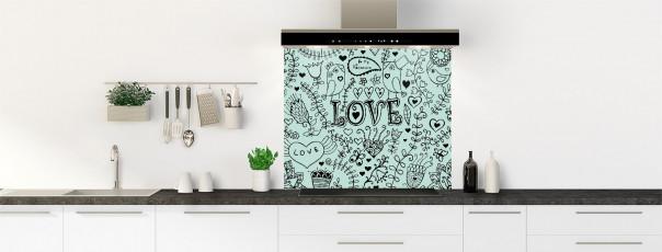 Crédence de cuisine Love illustration couleur vert pastel fond de hotte
