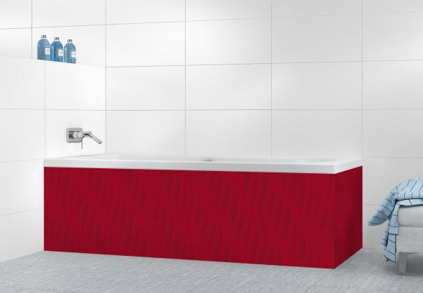 Panneau tablier de bain Ondes couleur rouge carmin