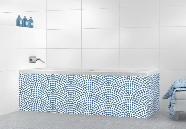Panneau tablier de bain Mosaïque petits cœurs couleur bleu lavande